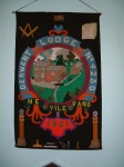 Derwent Lodge No 4250 Banner depicting the Postick Mill atEbchester