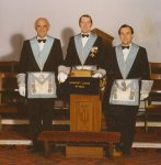W.Bro Alan Cox WM with Bro Jack Watson SW and Bro Derek LockeyJW