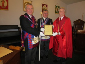 Presentation of E.Comp Alan Cox's 50 Year Certificate to E.Comp Jack Blackburn PPrGReg MEZ by E.Comp Stephen William Walker, PGStB, The Second Provincial Grand Principal